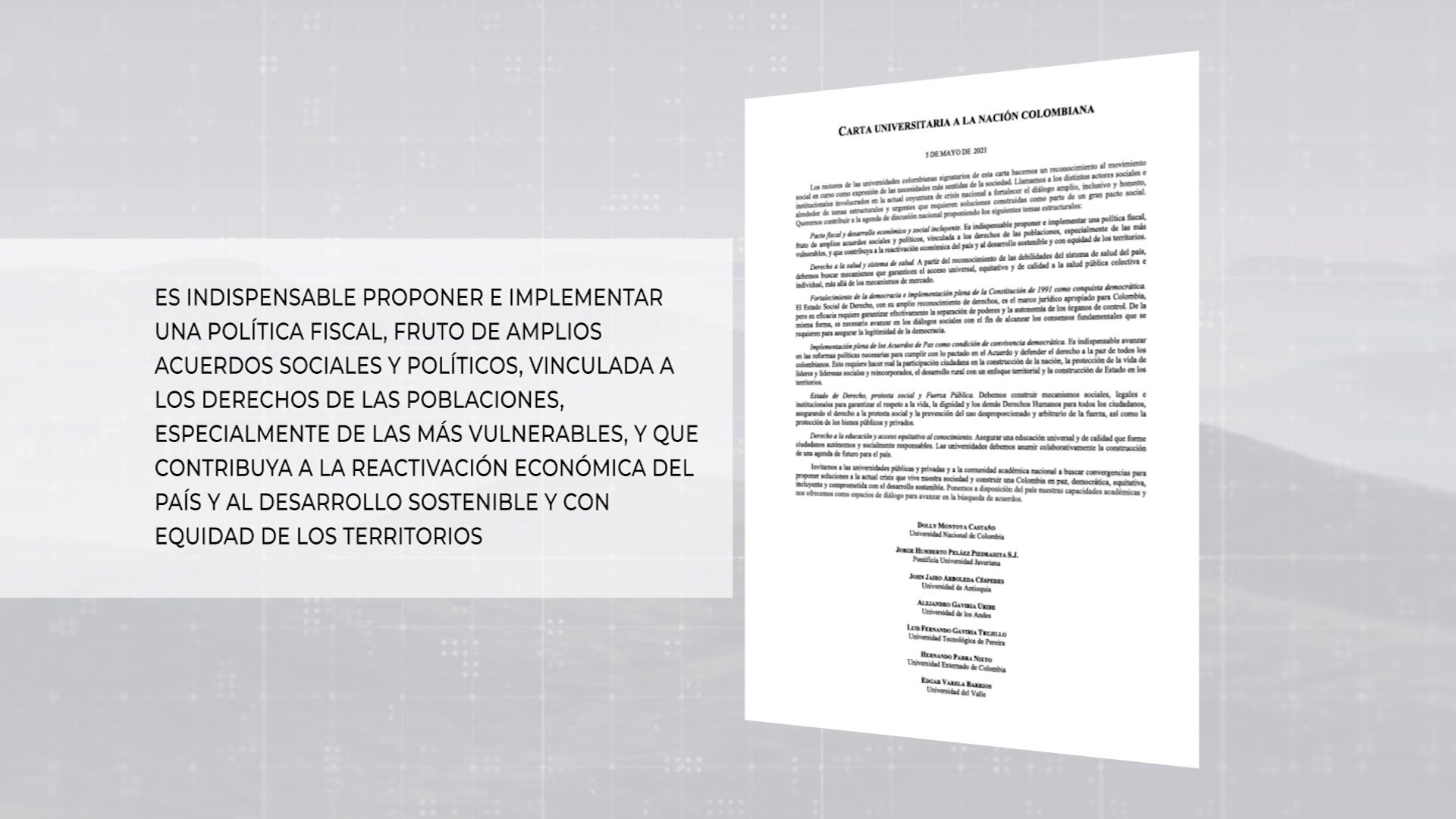 Carta de siete universidades al Gobierno Nacional