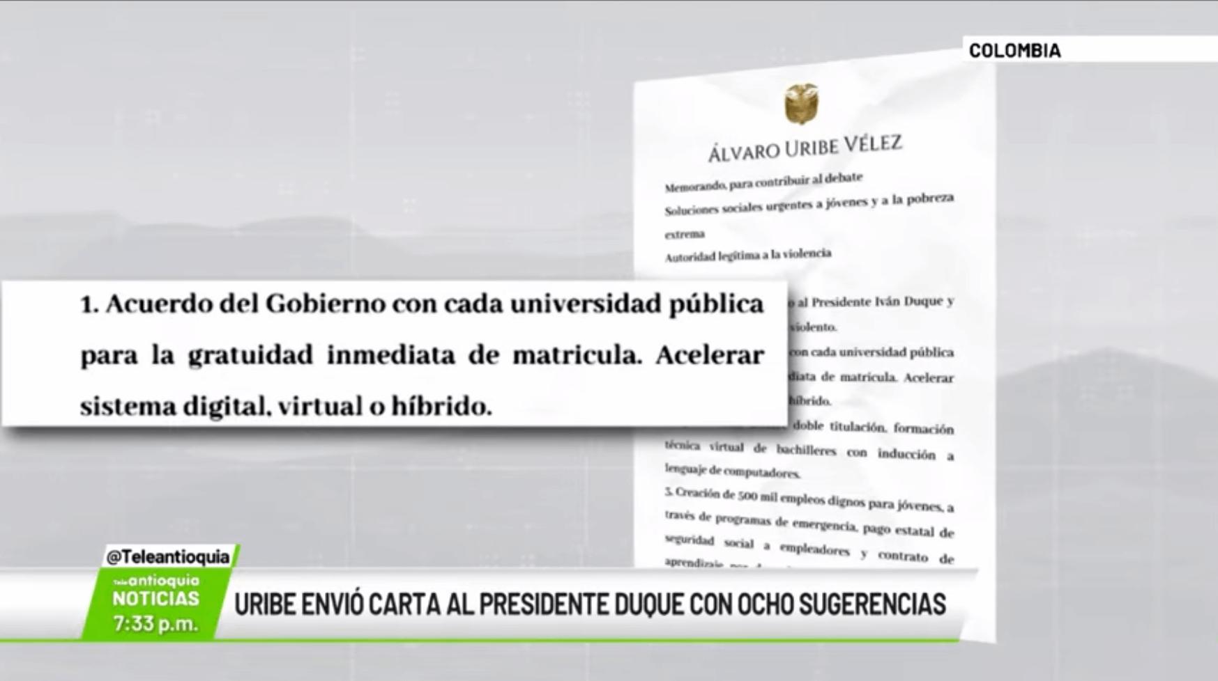 Uribe envió carta al presidente Duque con ocho sugerencias