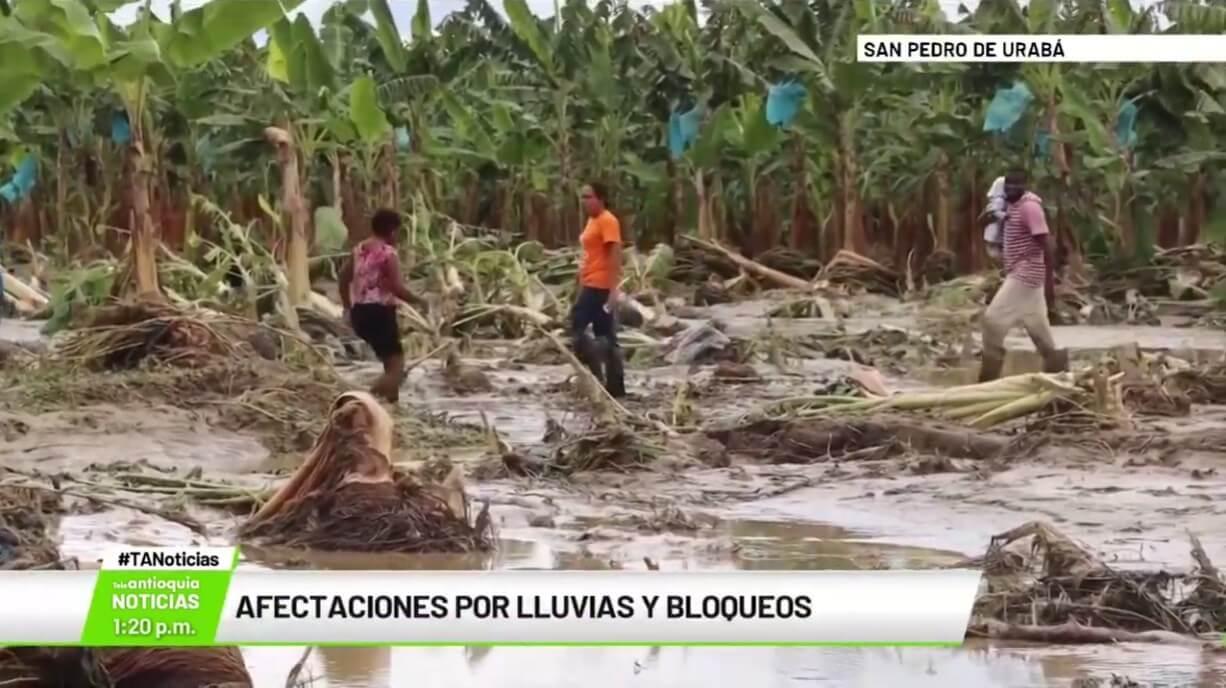 Afectaciones por lluvias y bloqueos en Urabá