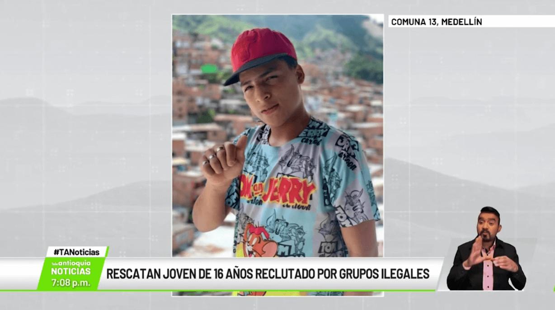 Rescatan joven de 16 años reclutado por grupos ilegales