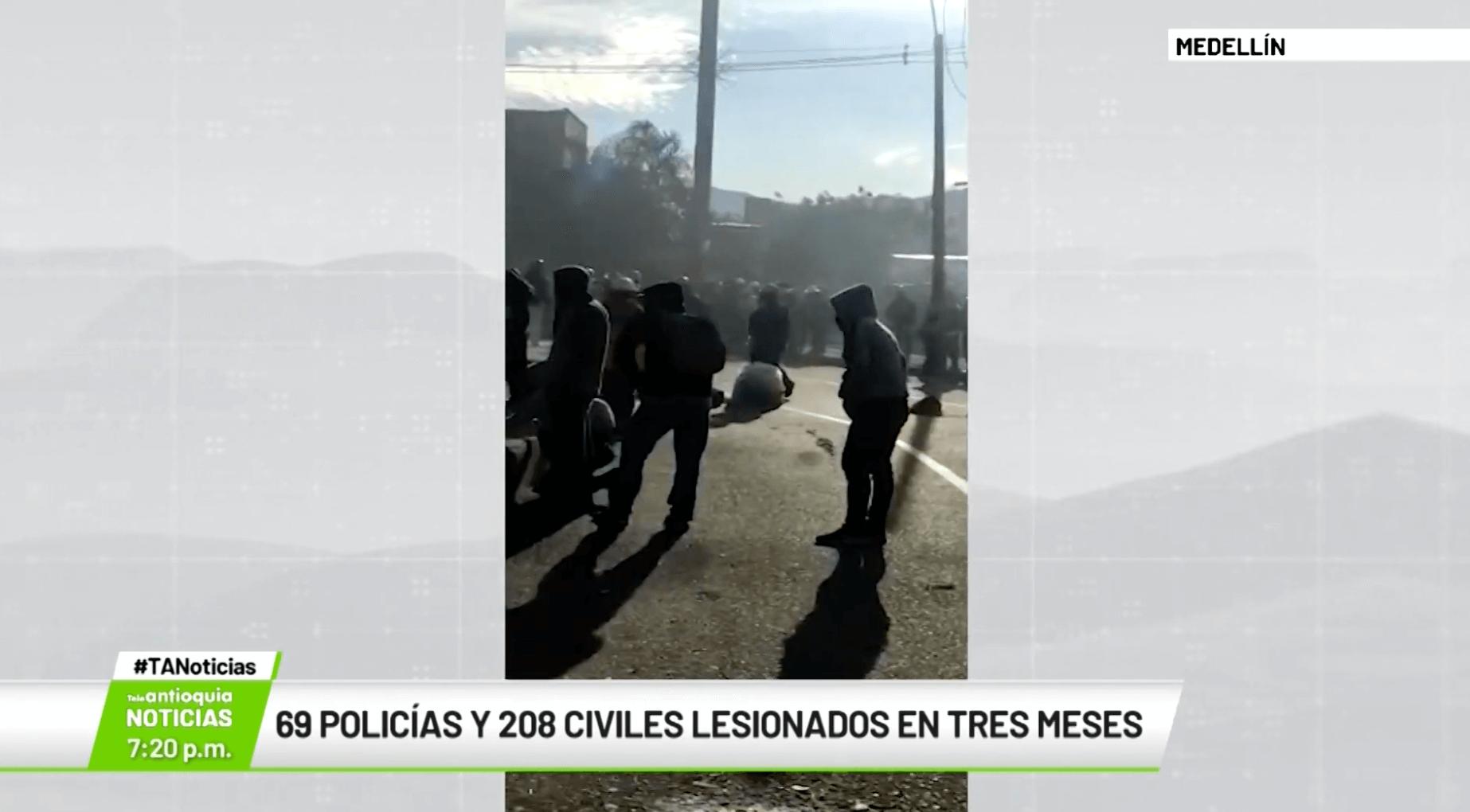 69 policías y 208 civiles lesionados en tres meses