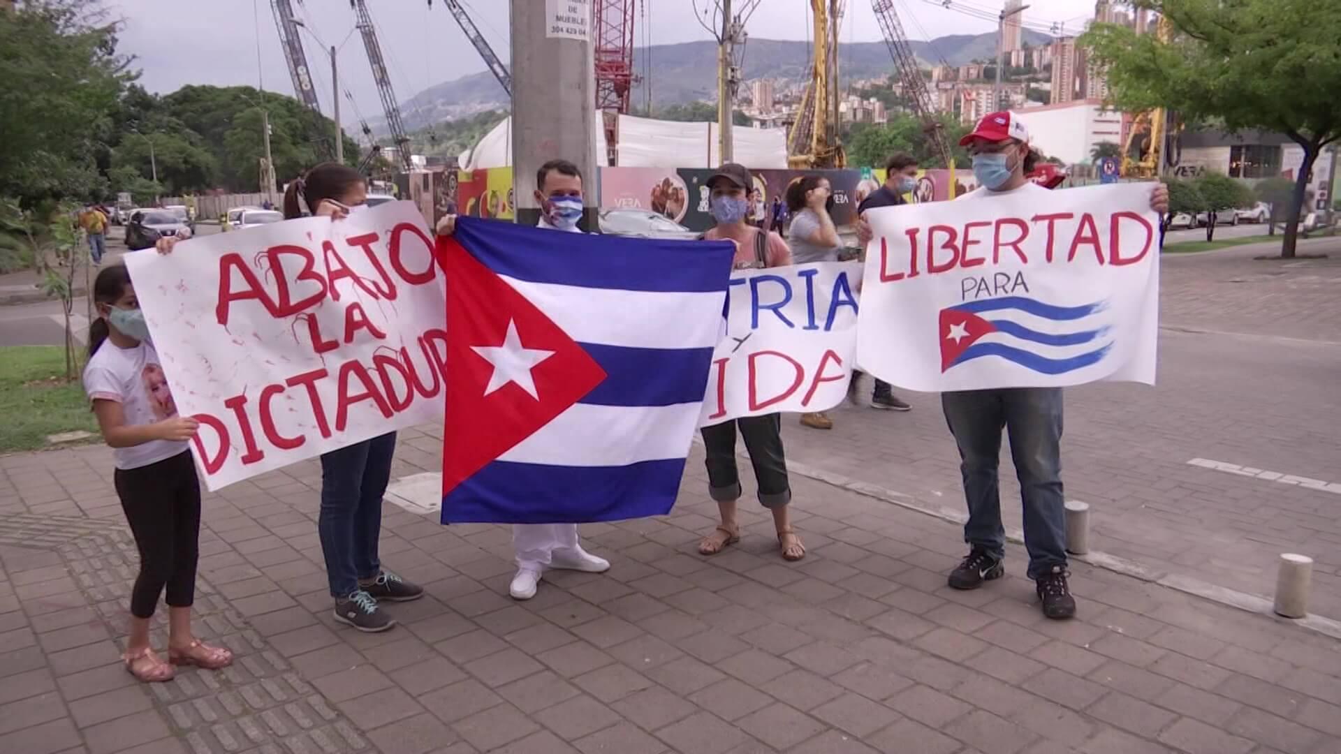 Cubanos en Medellín también protestaron