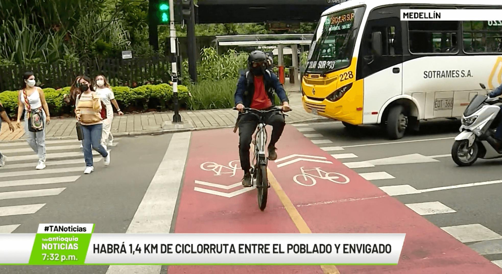Habrá 1,4 km de ciclorruta entre El Poblado y Envigado