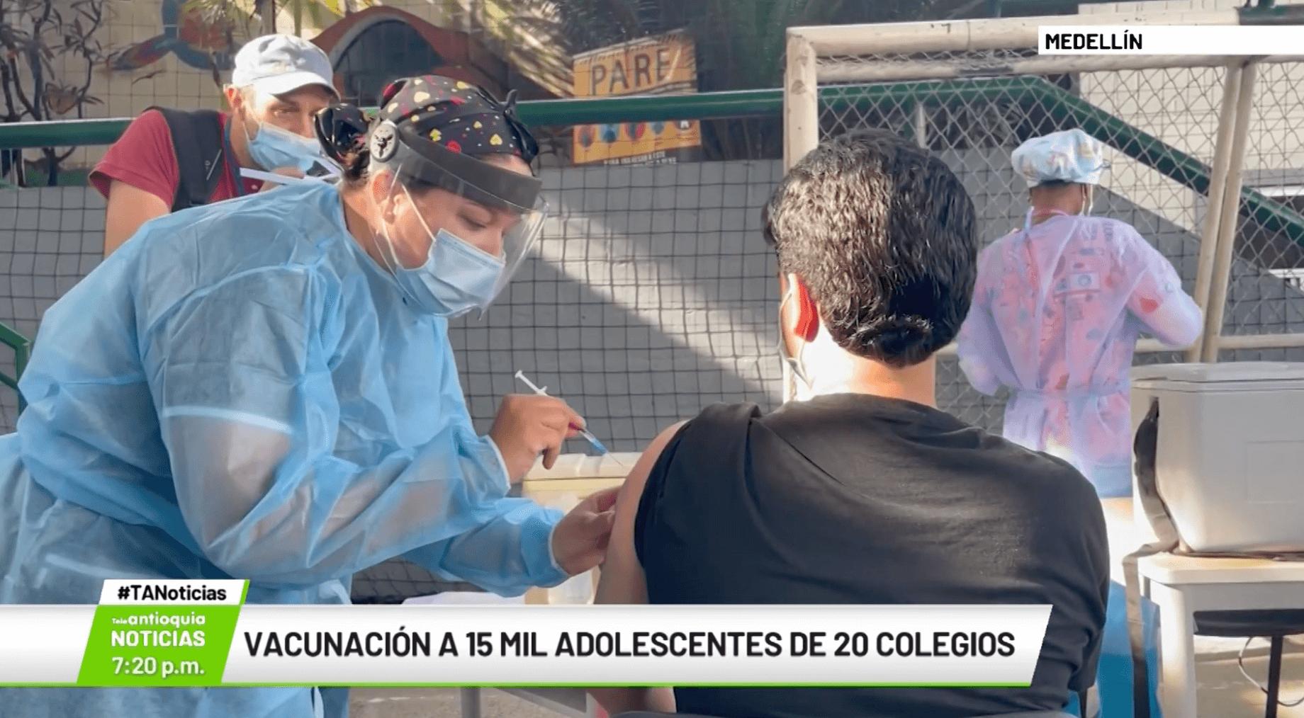 Vacunación a 15 mil adolescentes de 20 colegios