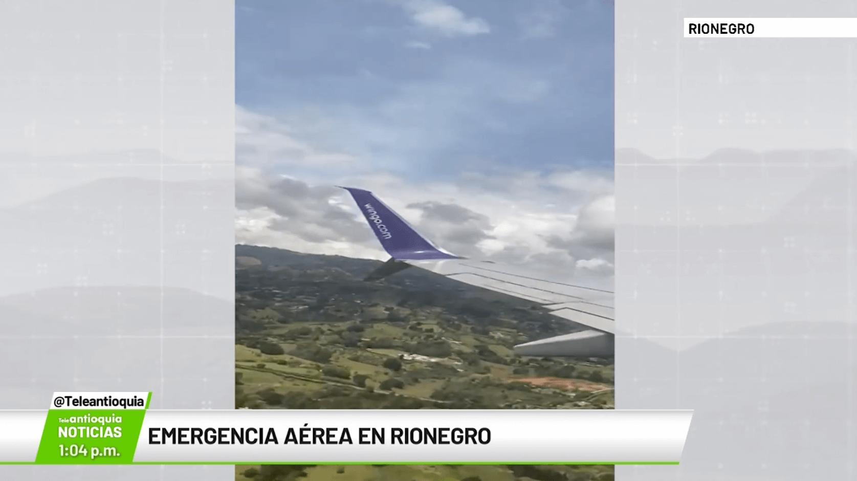 Emergencia aérea en Rionegro