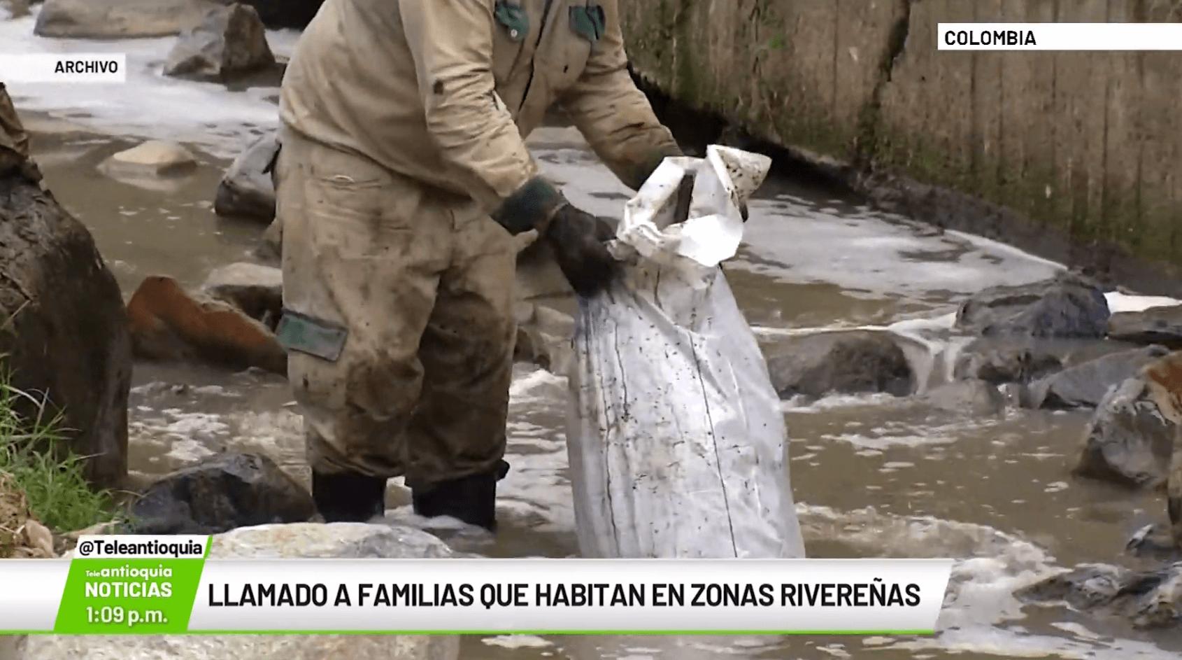 Llamado a familias que habitan en zonas rivereñas